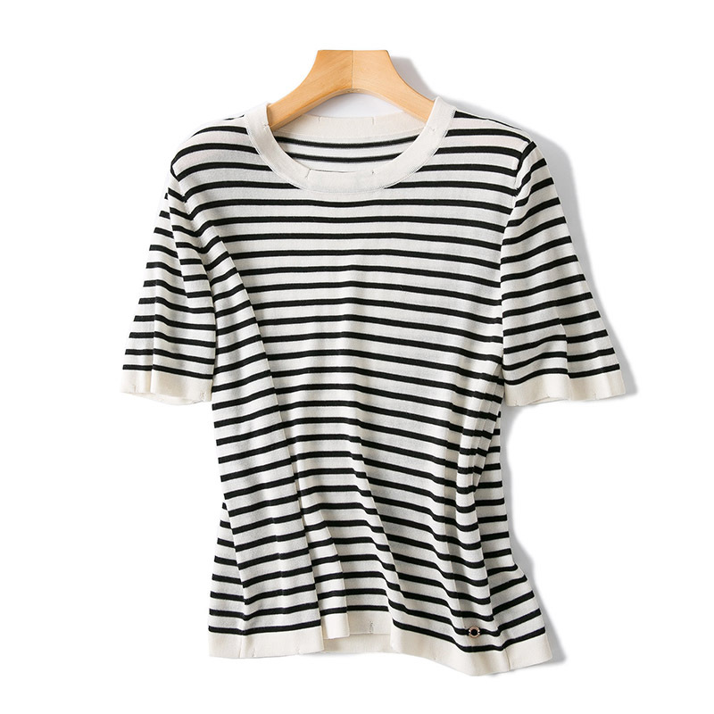 2018 Spring Summer New Women s High End Boutique Round Neck Stripe Small Knit Short Sleeve