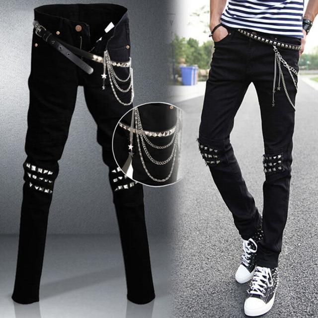 Mens Punk Hip Hop Black Jeans Lap Hip Rivet Slim Fit Biker Denim Pants Boys Singer Stage Ripped Skinny Jeans With Belts Chains Biker Denim Ripped Skinnyblack Jeans Aliexpress