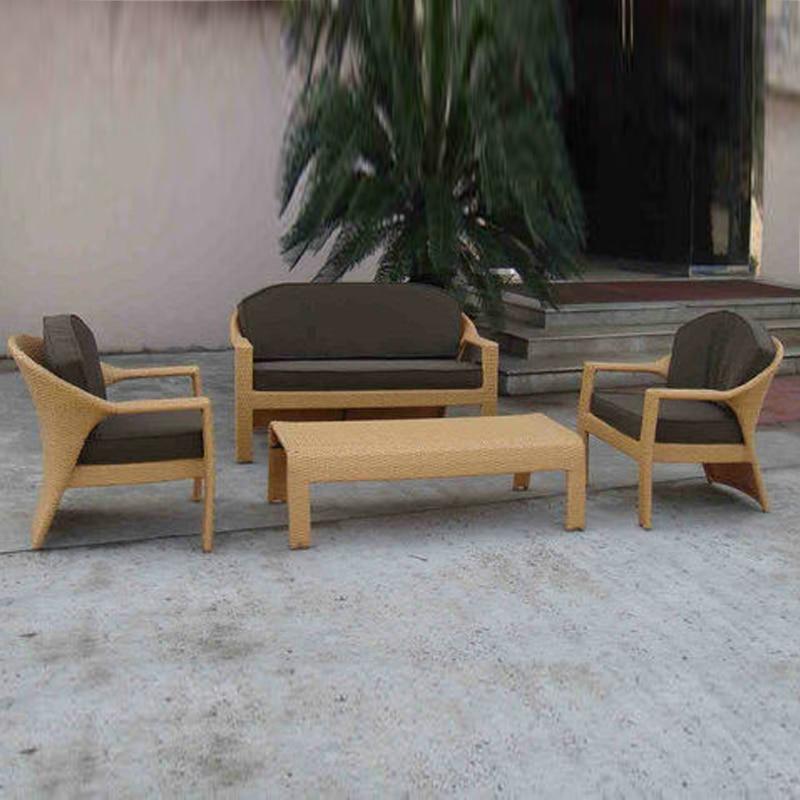 4-pcs PE New Design Rattan Patio Furntiure Pastoralism Home Indoor / Outdoor Rattan Sofa For Living Room