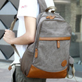 Fashionable canvas PU patchwork men's backpack college student school book bag vintage travel bag leisure laptop shoulder bag