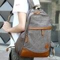Lona moda patchwork PU mochila mochila escolar estudante universitário saco de viagem do vintage dos homens saco de lazer bolsa de ombro laptop