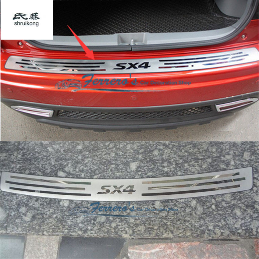 Free shipping car styling for 2007-2012 2013 Suzuki SX4 Stainless Steel back rear trunk Sill Scuff Plate Protection pedal stainless steel rear bumper sill trunk pedal for bmw x6 f16 2015 2016 tread plate car styling rear protective pedal rear guard