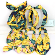 4pcs/lot Fruit Print Hair Bands For Girls Rabbit Ear Banana Headbands Twisted Stretchy Turban Summer Accessories Women