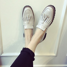 Fashion 2016 Spring Womens Oxfords Shoes Slip On Tassel Faux Leather Oxfords for Women Casual Comfort Ladies Shoes#WYL5