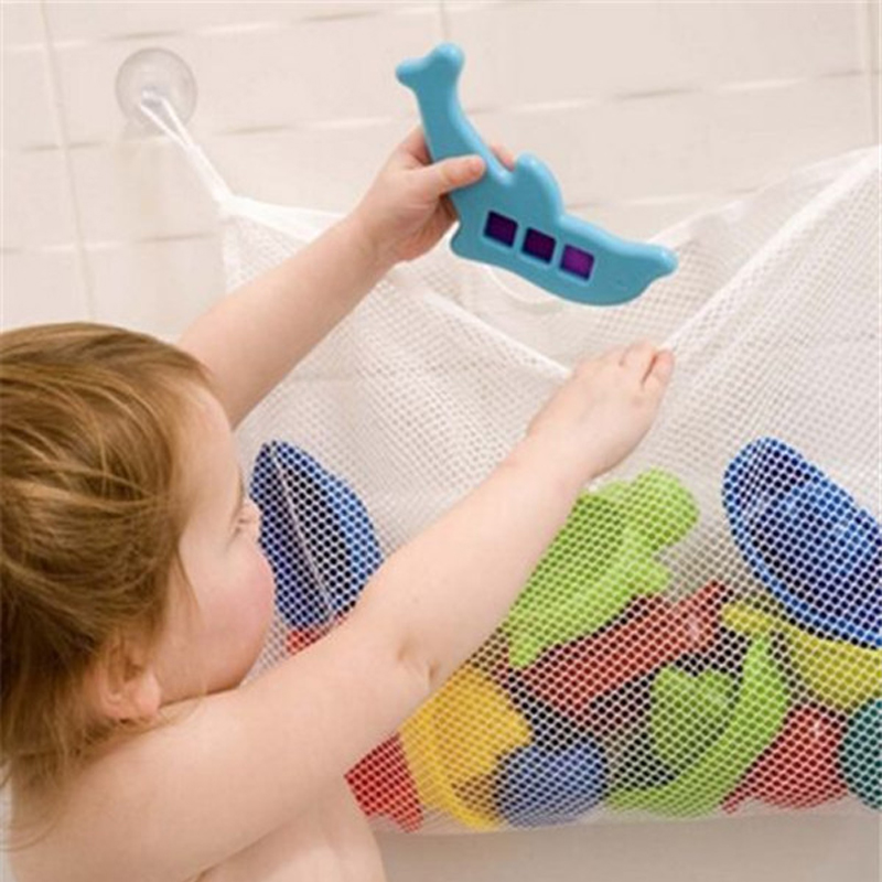 Foldable Baby Bathroom Mesh Storage Bag Child Bath Toy Pouch Net Suction Cup Baskets Durable Travel Toy Organizer