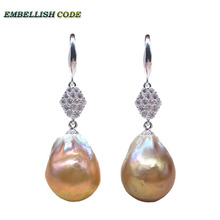 big size baroque pearl flame ball style hook earring purple gold color natural pearls with zircon 925 Sterling silver for lady