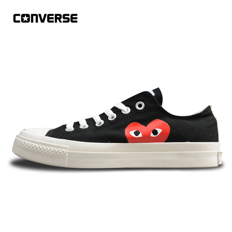 Converse Skateboarding Shoes For Men And Women Sneakers CDG X Chuck Taylor 1970s HiOX 18SS Sport Black Authentic Unisex 150210C converse all star cdg x chuck taylor 1970s hiox 18ss skateboarding white high top authentic for men and women casual shoes sport
