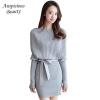 2017 New Autumn Women Sweater Dress Fashion O Neck Mini Solid Dress Clothings Female Tops Skirts