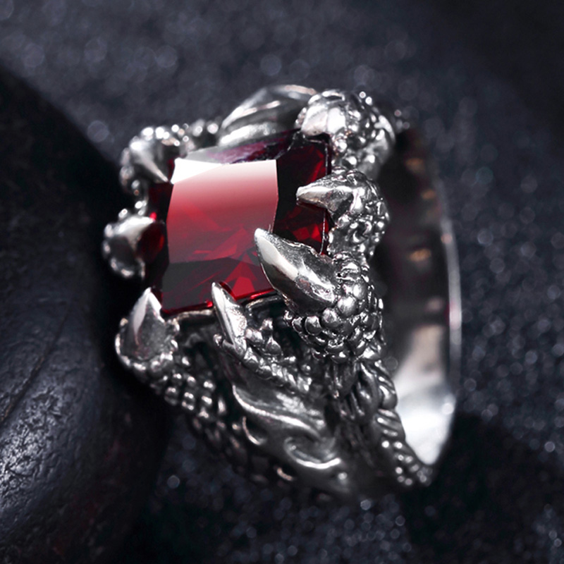 Vintage S925 Silver Male Men Creative Personality Trendsetter Domineering Red Gem RingVintage S925 Silver Male Men Creative Personality Trendsetter Domineering Red Gem Ring