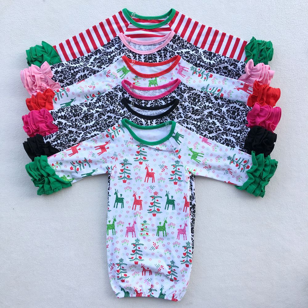 Baby's first personalized Christmas gown sibling pajamas boy girl Ruffled Newborn girl take home outfit,baby sleep shower gift
