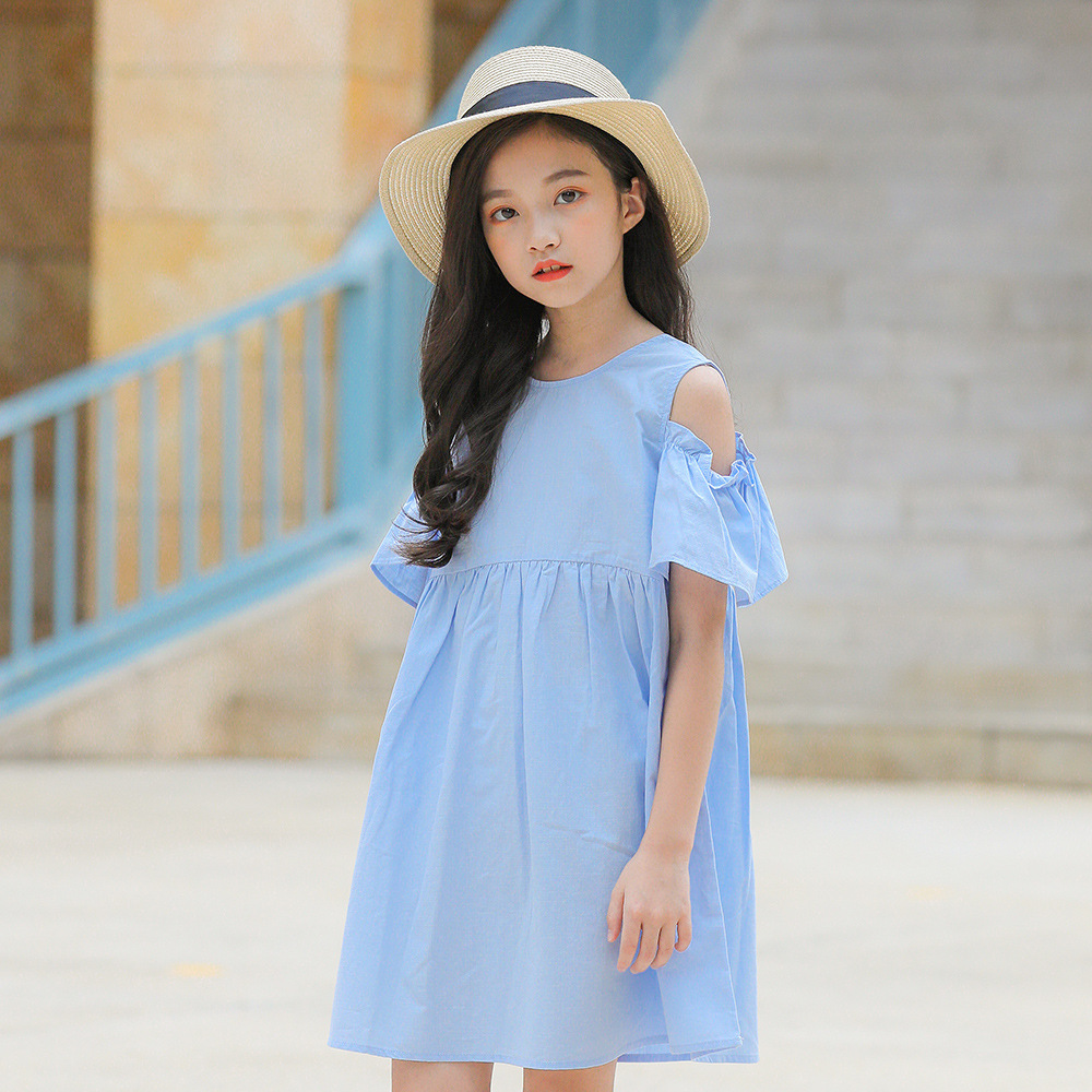 Kids Summer Girls Dress 2019 Children Clothes Short Sleeve Open Shoulders Princess Dress Cotton Clothes for Girls 12 13 14 YearsKids Summer Girls Dress 2019 Children Clothes Short Sleeve Open Shoulders Princess Dress Cotton Clothes for Girls 12 13 14 Years