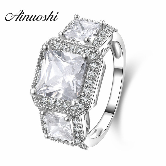 Ainuoshi 3 Stone European Style Ring 925 Genuine Sterling Silver Anelli Donna Engagement Wedding For