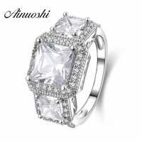 AINUOSHI 3 Stone European Style Ring 925 Genuine Sterling Silver Anelli Donna Engagement Wedding Ring for Women Anniversary Gift