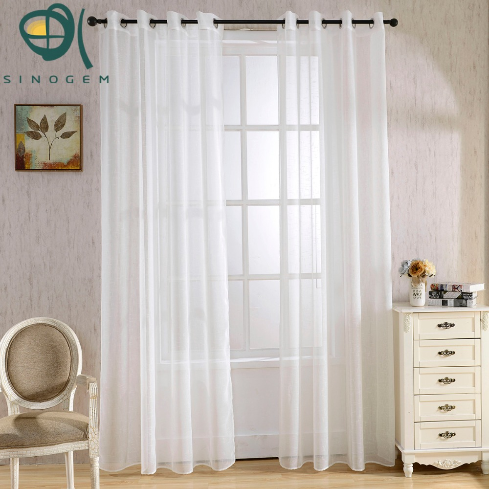 Colored sheer curtains - Sinogem Solid Color Sheer Curtain Small Cross White Grid Cloth Tulle Finished Sheer Curtains Window Decoration