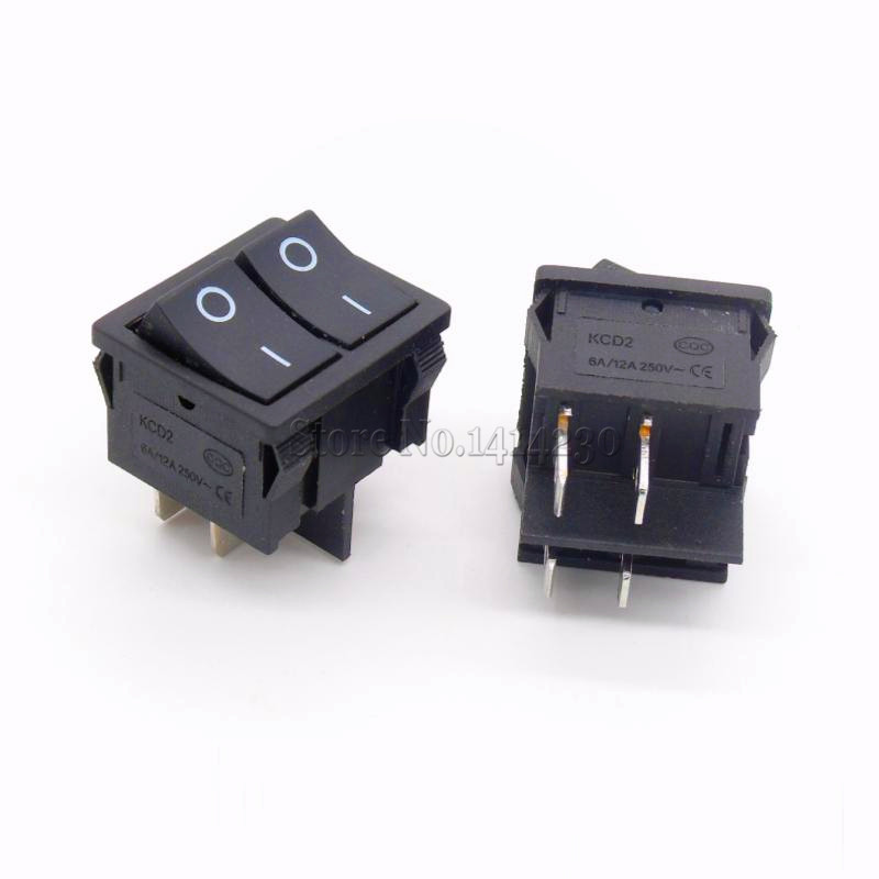 KCD2 21x24mm 2124mm Black Rocker Switches Two Way Switch 4 Pin 2
