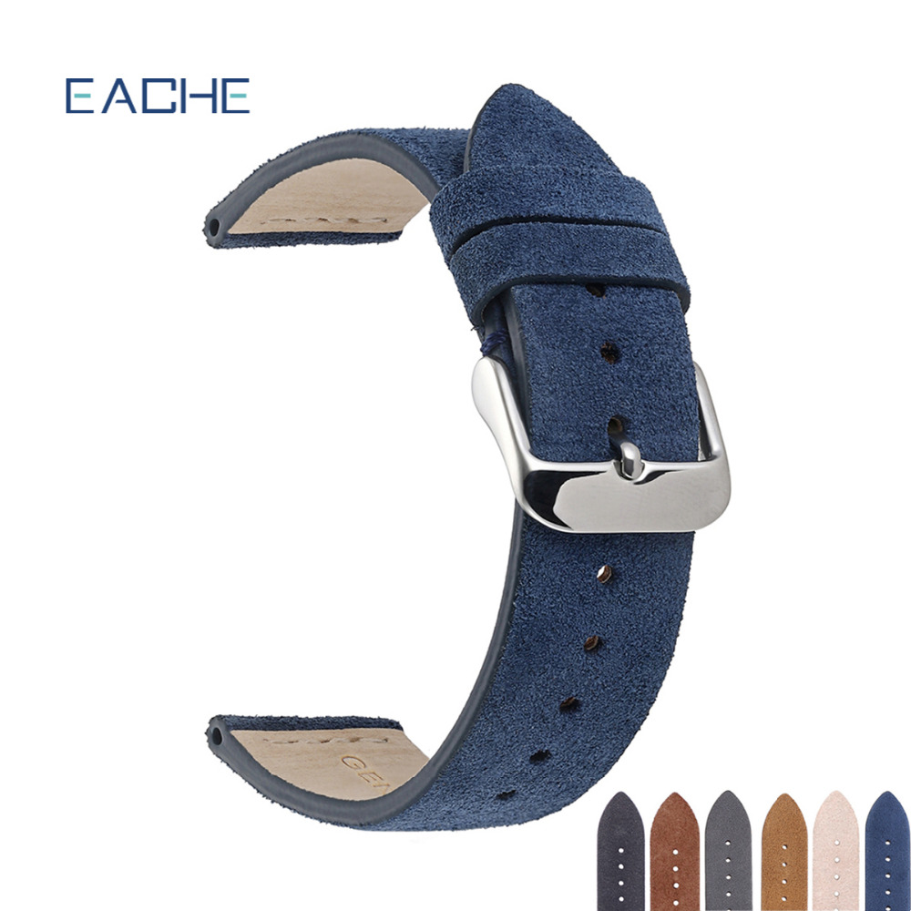 Hot Sale High Quality Suede Leather Watch Band With Sliver Buckle Light Brown Dark Brown Watch Straps 18mm 20mm 22mm In Stock