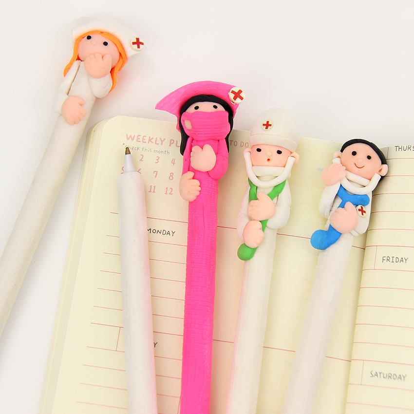 2 PCS High Quality Creative Stationery Cute Doctor Nurse Polymer Caly Ball Pen Character Ballpoint Pen