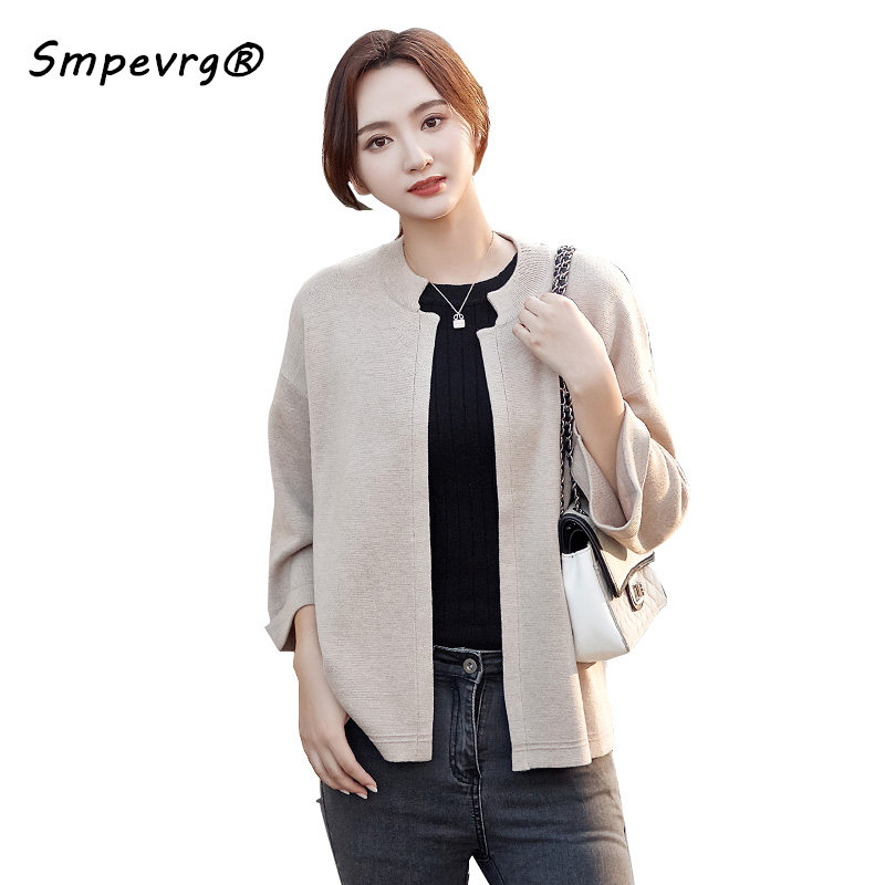 Smpevrg spring autumn new cashmere knitted sweater women cardigan o neck three quarter sleeve short cardigan