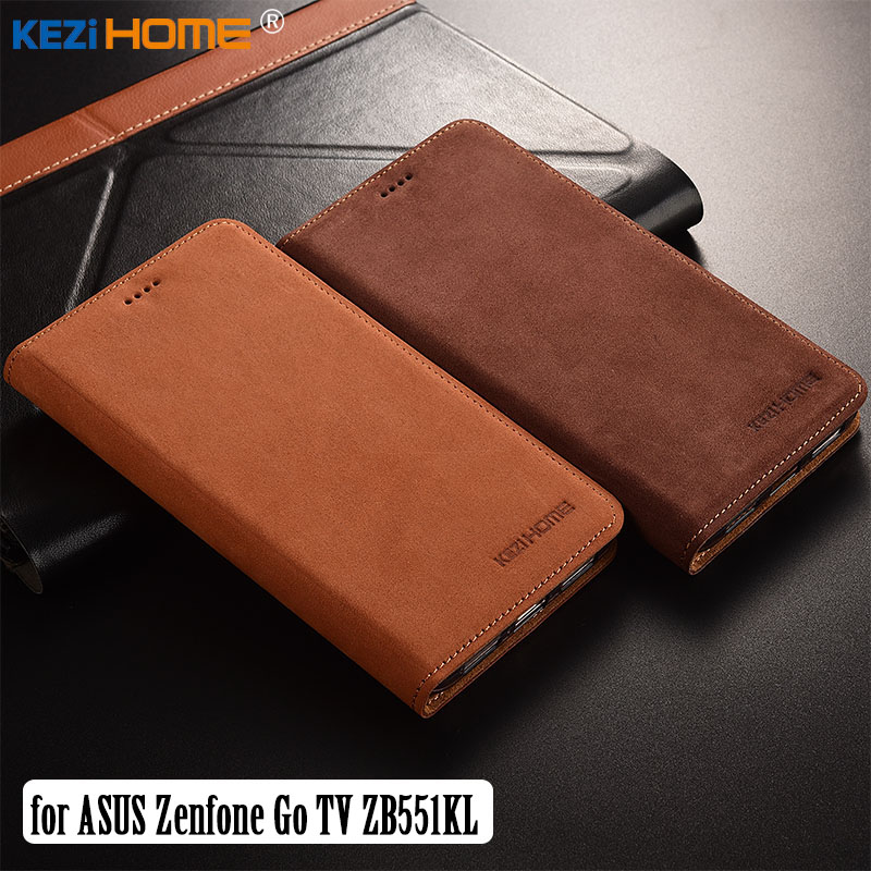 for Asus Zenfone Go TV ZB551KL case KEZiHOME Luxury Matte Genuine Leather Flip Stand Leather Cover capa For ZB551KL 5.5 cases