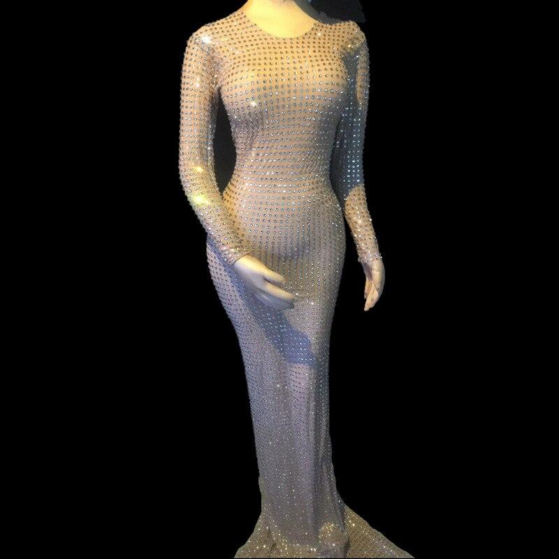Cristaux soirée longueur de plancher robe femmes scène Costumes discothèque Sexy femmes robe danse Performance brillante robe
