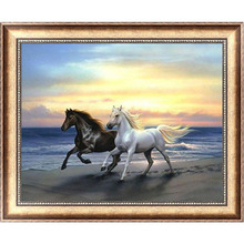 Horses 5D Diamond Embroidery Painting Cross Stitch DIY Craft Mosaic Home Decor 38cm*30cm #K400Y#
