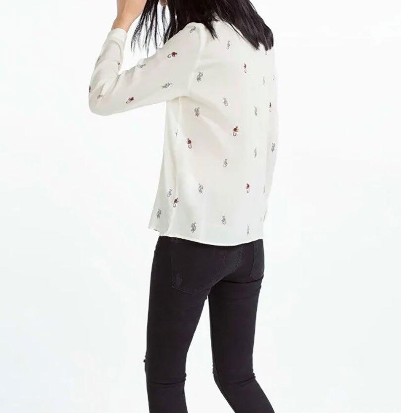 VOGUE! N Nueva Señoras de las mujeres Ocasionales Mono Animal Print Solapa de Manga Larga Pullover Camisa de La Blusa Tops