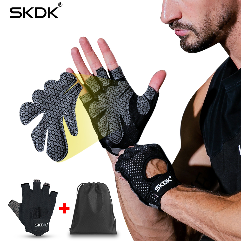Breathable Fitness Gloves Silicone Palm Hollow Back Gym Gloves Weightlifting Workout Dumbbell Crossfit Bodybuilding Accessorie