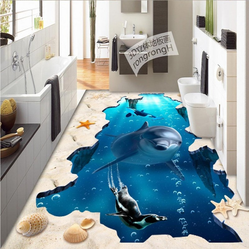 Free Shipping Sea World 3D outdoor floor painting thickened non-slip shopping mall living room bathroom bedroom flooring mural free shipping waterfall hawthorn carp 3d outdoor flooring non slip shopping mall living room bathroom lobby flooring mural