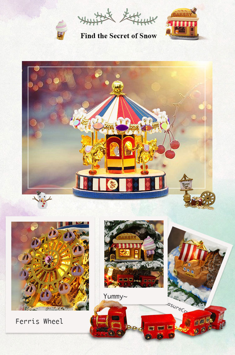 DIY Dollhouse Rotate Music Box Miniature Assemble Kits Doll House With Furnitures Wooden House Toys for Children Birthday Gift (15)