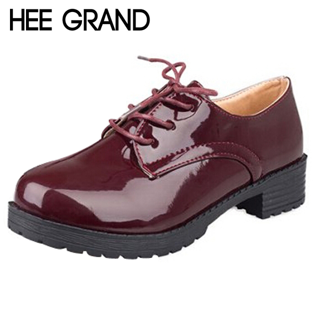 HEE GRAND Women Platform Flats 2016 Autumn Retro Lace-up Oxfords Solid Plain PU Leather Casual Oxford Shoes Woman XWD848