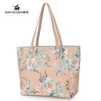 DAVIDJONES women handbag faux leather female shoulder bags big lady flower top handle bag girl embroidery tote bag drop shipping