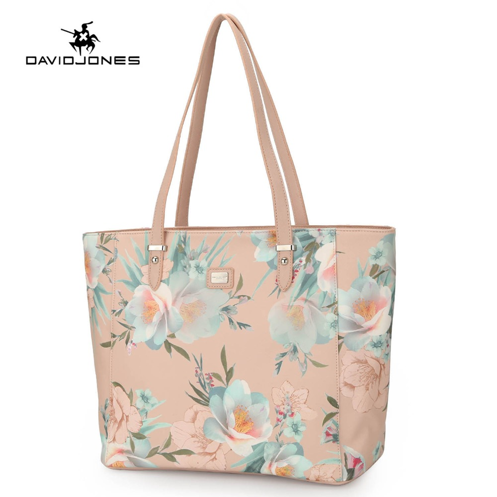 купить DAVIDJONES women handbag faux leather female shoulder bags big lady flower top handle bag girl embroidery tote bag drop shipping по цене 1685.66 рублей