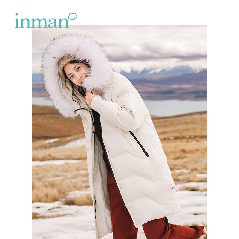 INMAN 2018 Winter New Arrival Female INS Style Teenage Heart Fur Collar Hooded Slim Long Section Women   Down     Coat