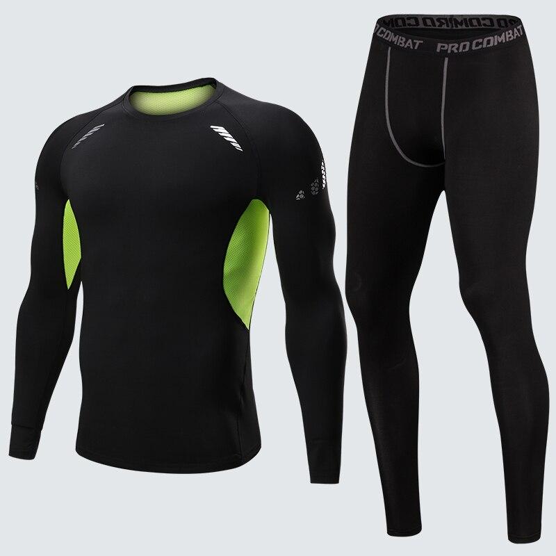 2018 costume de Sport hommes à manches longues ensembles de course à sec rapide basket-ball Gym Jogging costume Compression Yoga Sport Fitness ensemble vêtements