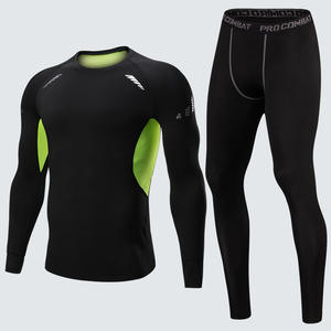 Men Long Sleeve Running Sets Compression Yoga Sport Fitness Set Clothes