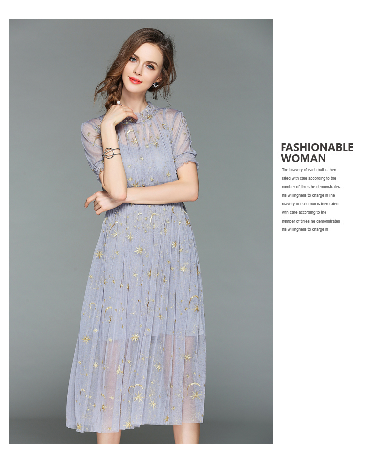 Fairy Summer Gauze Embroidered Dress Robe Ete 2018 Women Two Piece Midi Party Dress Vestiti Donna Sukienki Damskie K3288 3