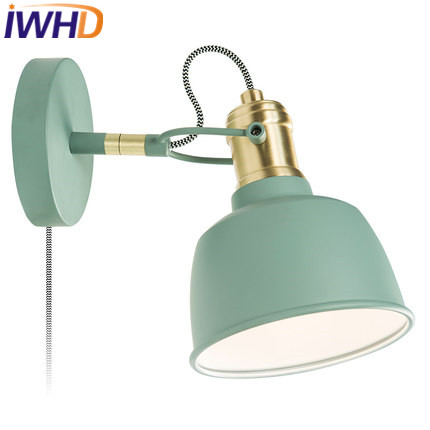 IWHD Modern LED Wall Light Up Down Fashion Iron Arm Sconce Wall Lamp Simple Bderoom Lighting Stair Wood Beside Reading Light
