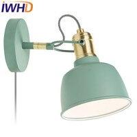 Iwhd современный светодиодный светильник настенный до Подпушка модные Iron ARM бра простой bderoom Освещение лестницы деревянные рядом Настольная