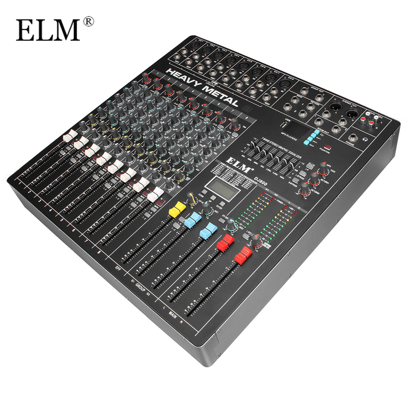 ELM Professional Audio DJ Mixing Console 8 Channels WIth USB DSP Digital Effects Processors For DJ Audio Karaoke Sound Mixer promotion 150w 6 channels mixing console karaoke digital mic line audio power mixer effective mixing console for dj stage