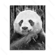 Laeacco Canvas Painting Calligraphy Chinese Black and White Panda Animal Posters Prints Wall Art Pictures Home Decoration