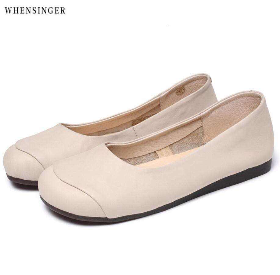 7af386748a049 Whensinger Hand made Genuine Leather Flat Shoes Woman Slip on Loafers  Ladies Flat Shoes Mori Girl Style Brand Designer -in Women's Flats from  Shoes on ...