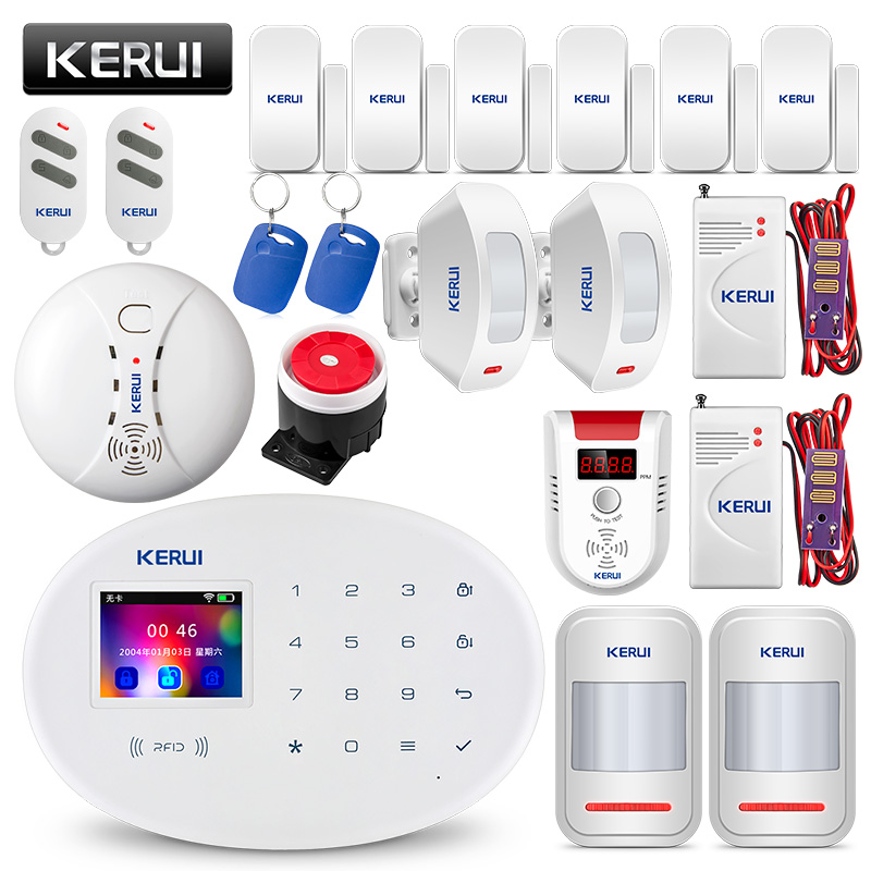 KERUI W20 WIFI système d'alarme sécurité à domicile gsm Maison Intelligente RFID Carte APP Contrôle détecteur de mouvement alarme anti-effraction détecteur de gaz