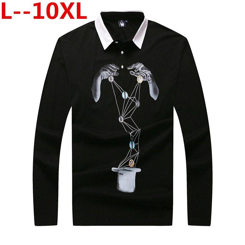 10XL 8XL 6XL 5XL Mode À Manches Longues Hommes Polo Shirt de Haute Qualité Imprimé Coton Polo Hommes Shirt Occasionnel Mince fit Polo Tops T-shirts