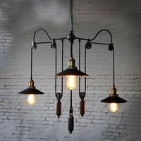 Retro Chandelier American Style E27 Chandelier 3 Heads Loft Pendant Lamp Living Room Office Dining Room