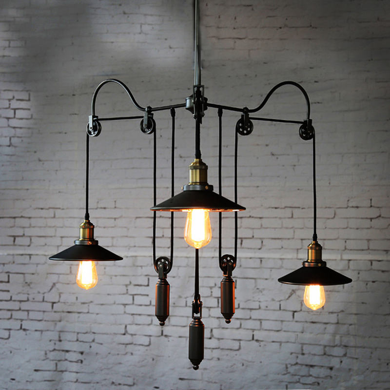 Retro chandelier American style E27 chandelier 3 heads loft pendant lamp living room office dining room club bar cafe lights loft american edison vintage industry crystal glass box wall lamp cafe bar coffee shop hall store club