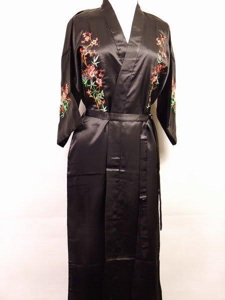 Hot Sale New Chinese Men's Silk Satin Embroidery Robe Kimono Bath Gown Flowers Size S M L XL XXL XXXLZhs001A