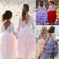 Retail Girls Summer Sweet Lace Long Sleeve Tutu Dress Girls Wedding Dress Girls Party Dress Kids