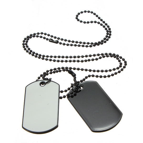 pendant necklace stainless steel men army dog rambo dp tag for style double
