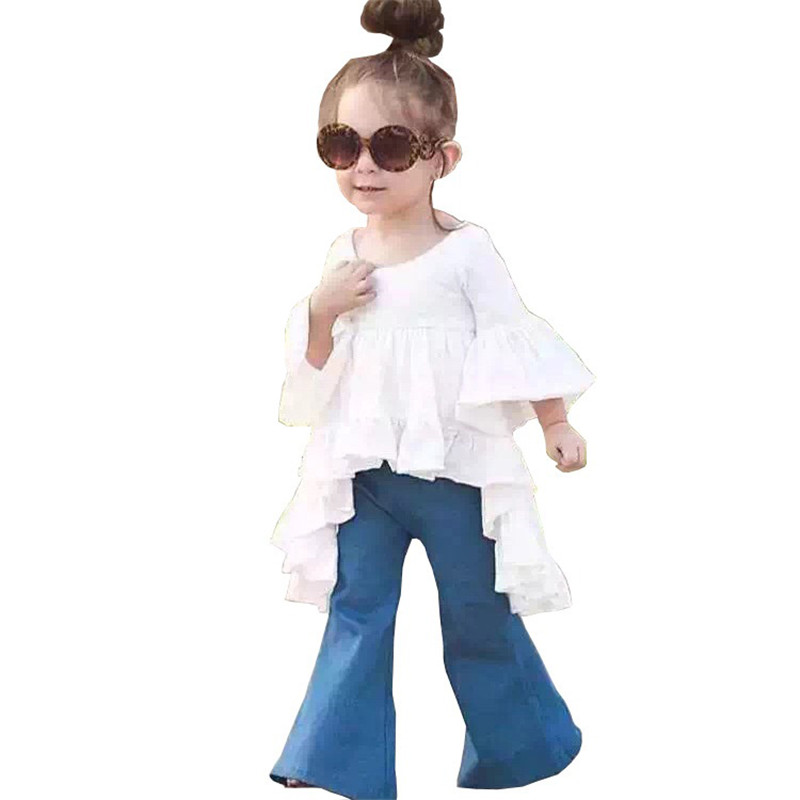 2017 Summer New Casual Girl Dress Kids Girl Dress Children Clothing Girls Jeans Spring Autumn Flares Denim Pants autumn new fashion cotton jeans women loose low waist washed vintage big hole ripped long denim pencil pants casual girl pants