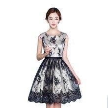 MDBRIDAL Black Lace Short Cocktailkleid Eine Linie Sleeveless Frauen Semi Formal Kleid Benutzerdefinierte Größe